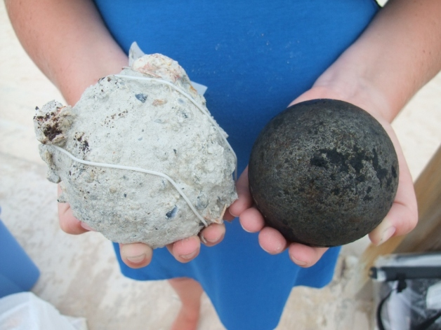 Two cannonball - one still in its concretion.  -  © 2011 Warwick Project, Douglas Inglis