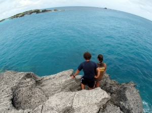Josh and Maureen look over the edge of Castle Island - Photo by Douglas Inglis © 2012 the Warwick Project