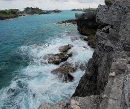 Far beneath us the water surged amongst jagged rocks, swirling into dark eddies and casting foam high into the air. It was tempting to lean out as far as you could, but the limestone cliffs were weak and crumbling where we stood beside the four-hundred year old walls.